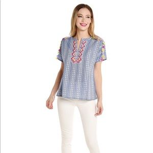 THML SHORT SLEEVE SHIFT TOP WITH TASSEL TRIM